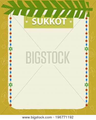 Sukkot holiday decorative blank sign with sukkot title at the top. Eps10