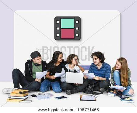 Group of teens together social technology concept
