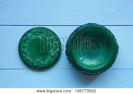 Small Decorative Green Malachite Pot