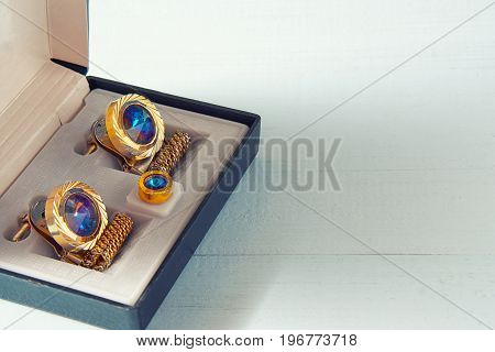 Small Box With Cufflink. Present For Businessman