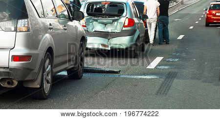3 automobiles at urban group car accident