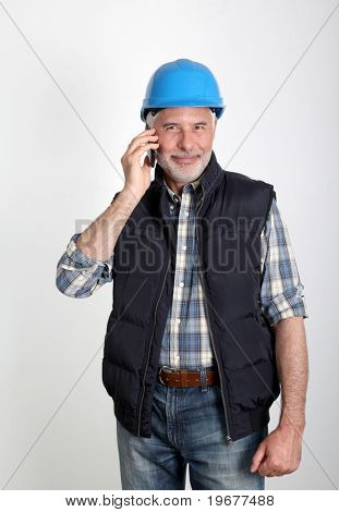 Foreman talking on the phone