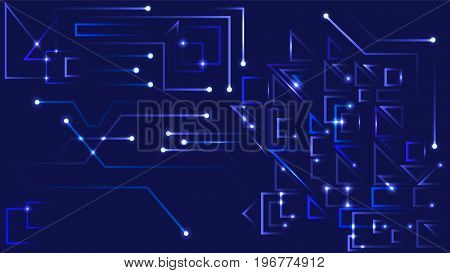 Abstract Geometric Background Dark Blue, Cybernetic Background with Circuit Board, Vector Illustration EPS 10