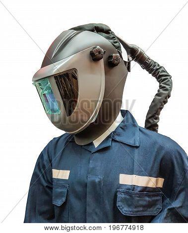 protective welding mask helmet on white background