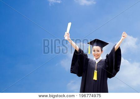 Successful Graduating Student With Sky Background, Happy Graduated Student Girl, Congratulations, Co