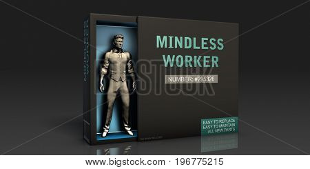 Mindless Worker Employment Problem and Workplace Issues 3D Illustration Render
