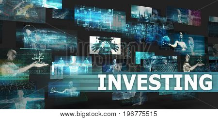 Investing Presentation Background with Technology Abstract Art 3D Illustration Render