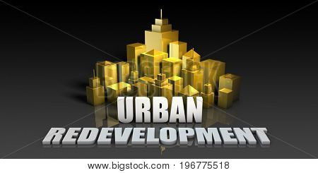 Urban Redevelopment Industry Business Concept with Buildings Background 3D Illustration Render