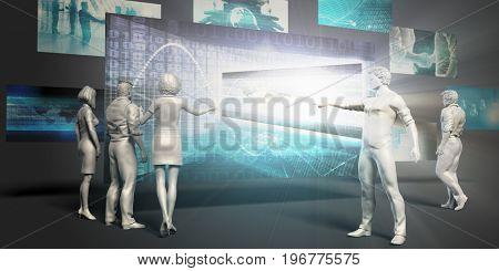 Digital Marketing Concept with Virtual Presentation Background 3D Illustration Render