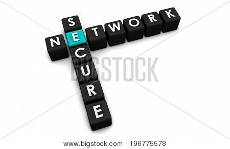 Security Network Concept Laid Out in Cubes 3D Illustration Render