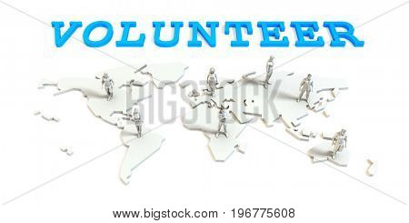 volunteer Global Business Abstract with People Standing on Map 3D Illustration Render