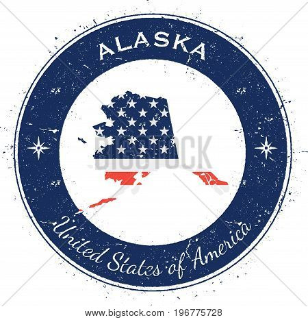Alaska Circular Patriotic Badge. Grunge Rubber Stamp With Usa State Flag, Map And The Alaska Written