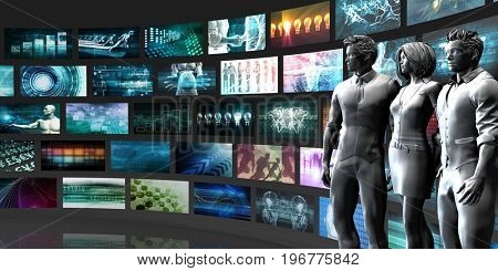 Multimedia Entertainment with Futuristic Video Gallery Art 3D Illustration Render