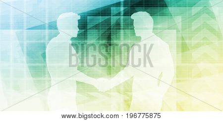 Silhouettes of Two Businessman Shaking Hands Art 3D Illustration Render
