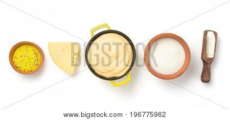 cheese sauce in bowl isolated on white background