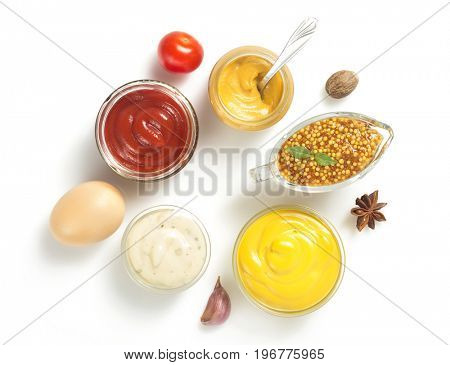 tomato sauce, mayonnaise and mustard in bowl isolated on white background
