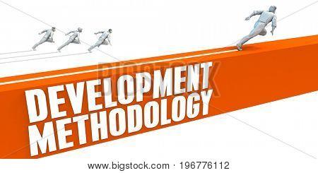 Development Methodlogy Express Lane with Business People Running 3D Illustration Render