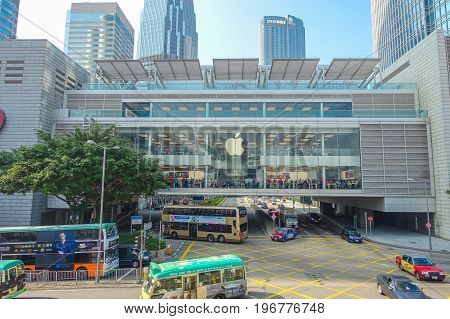 HONG KONG, CHINA - JANUARY 26, 2017: Unidentified people walking inside of the apple building in the city of Hong Kong, near of business center at day time.
