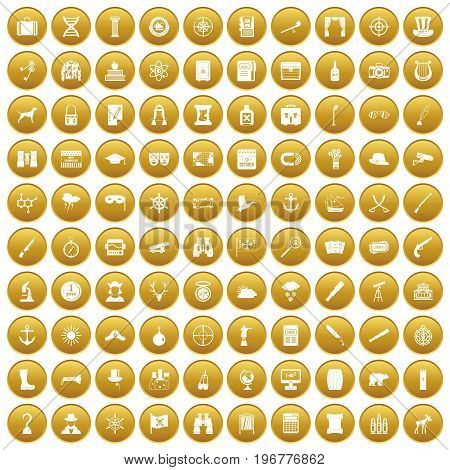 100 binoculars icons set in gold circle isolated on white vector illustration