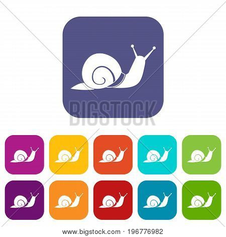 Snail icons set vector illustration in flat style in colors red, blue, green, and other
