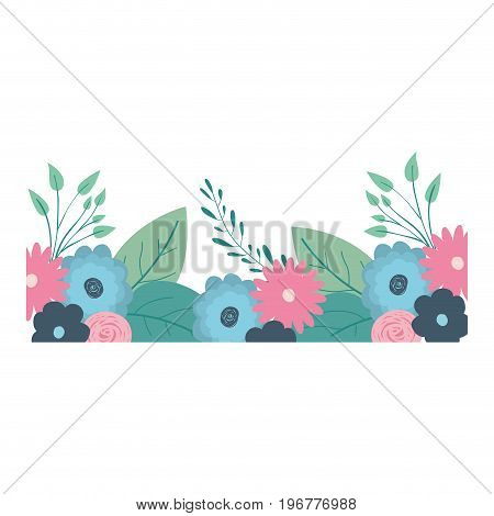 multicolored decorative inferior edge with beautiful flowers ornaments vector illustration