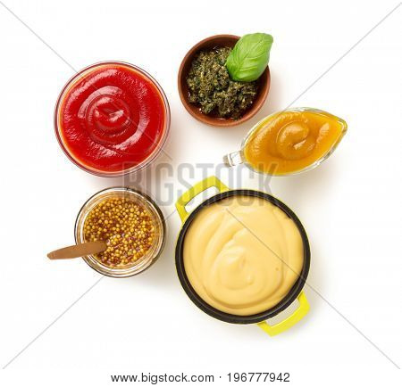 set of dip sauces in bowl isolated on white background