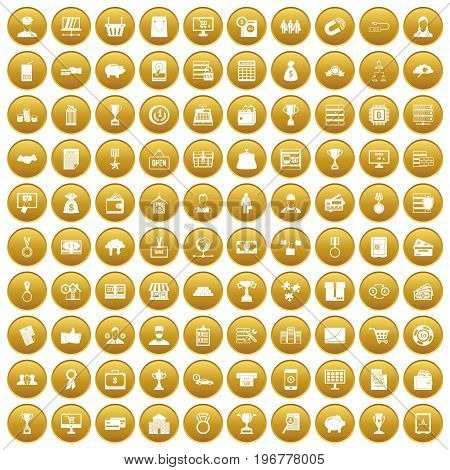 100 business icons set in gold circle isolated on white vector illustration