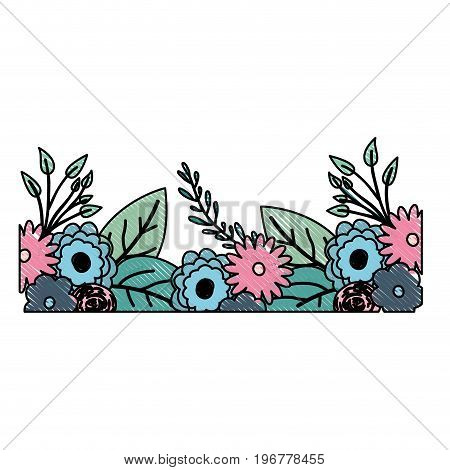 multicolored crayon silhouette of decorative inferior edge with beautiful flowers ornaments vector illustration