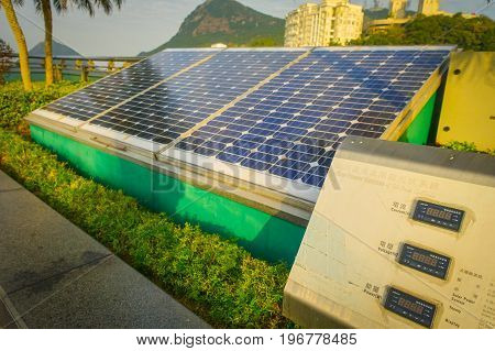 HONG KONG, CHINA - JANUARY 22, 2017: Solar pannel in victoria peak tower and tram in Hong Kong.