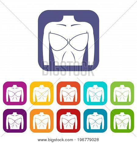Female breast in a bra icons set vector illustration in flat style in colors red, blue, green, and other