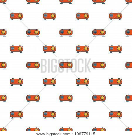 Retro orange radio receiver pattern seamless repeat in cartoon style vector illustration