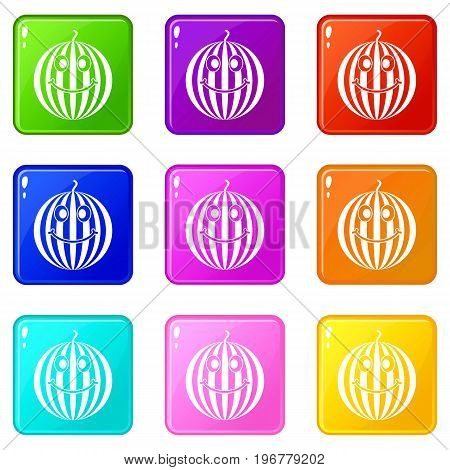 Ripe smiling watermelon icons of 9 color set isolated vector illustration