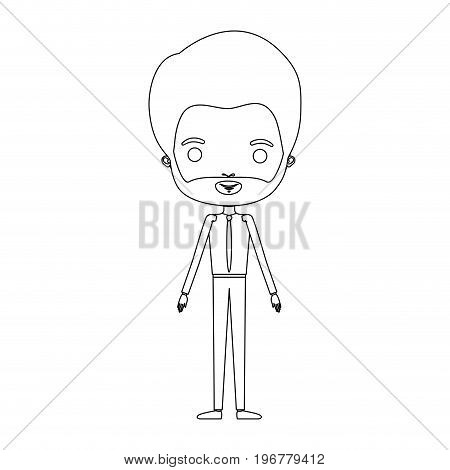 silhouette caricature groom man in wedding suit with van dyke beard vector illustration