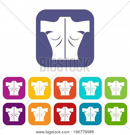 Human back icons set vector illustration in flat style in colors red, blue, green, and other