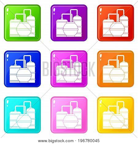 Gas storage tanks icons of 9 color set isolated vector illustration