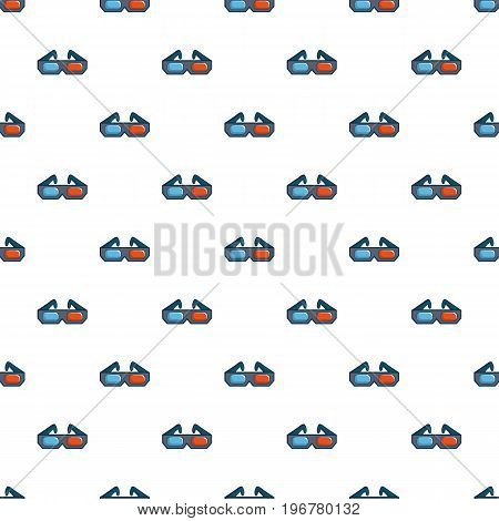 3D cinema glasses pattern seamless repeat in cartoon style vector illustration