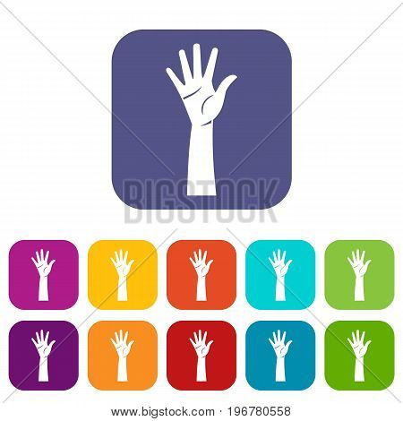 Hand icons set vector illustration in flat style in colors red, blue, green, and other