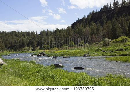 The Crooked River running along the backside of Smith Rock State Park in Terrebonne, Oregon.