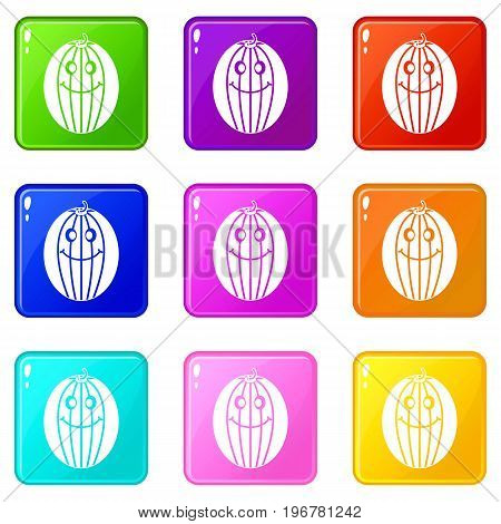 Ripe smiling melon icons of 9 color set isolated vector illustration