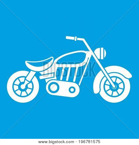 Motorcycle icon white isolated on blue background vector illustration