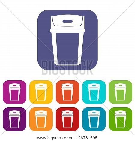 Big trashcan icons set vector illustration in flat style in colors red, blue, green, and other