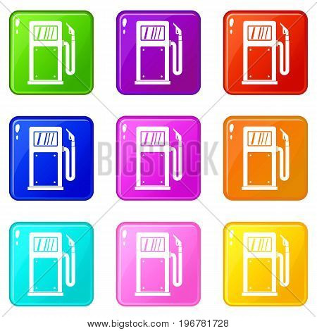 Gasoline pump icons of 9 color set isolated vector illustration