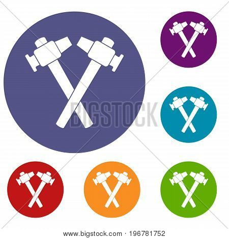Crossed blacksmith hammer icons set in flat circle red, blue and green color for web