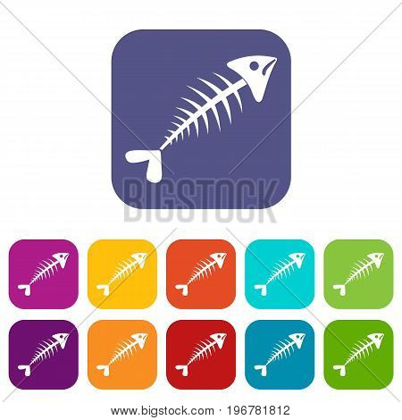 Fish bone icons set vector illustration in flat style in colors red, blue, green, and other
