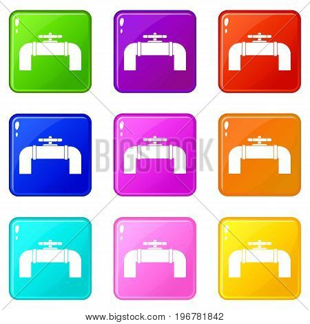 Industrial pipe valve icons of 9 color set isolated vector illustration