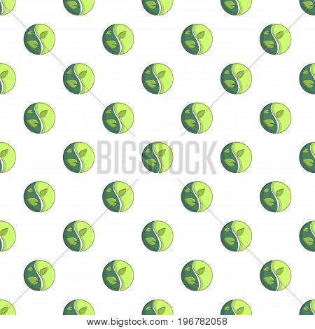 Green round sign with leaves pattern seamless repeat in cartoon style vector illustration