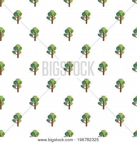 Tree pattern seamless repeat in cartoon style vector illustration