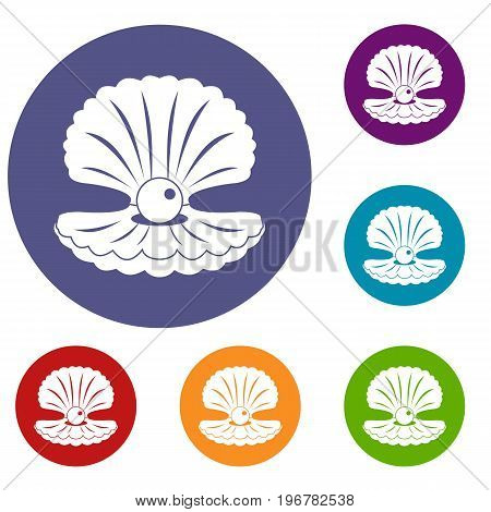 Pearl in a shell icons set in flat circle red, blue and green color for web