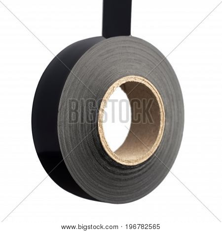 Roll of black plastic duct tape on white background isolated