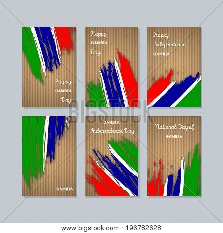 Gambia Patriotic Cards For National Day. Expressive Brush Stroke In National Flag Colors On Kraft Pa